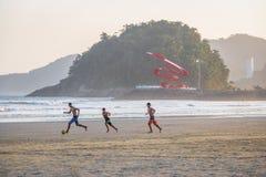 People playing soccer at Santos Beach - Santos, Sao Paulo, Brazil Royalty Free Stock Image