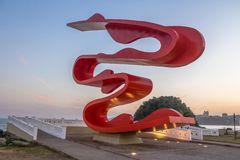 Sculpture by Tomie Ohtake at Marine Outfall Emissario Submarino at sunset - Santos, Sao Paulo, Brazil. SANTOS, BRAZIL - Sep 3, 2017: Sculpture by Tomie Ohtake at Stock Photo
