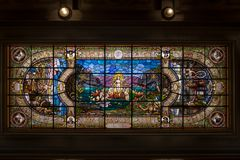 Stained glass ceiling of Coffee Museum former Coffee Stock Exchange Building - Santos, Sao Paulo, Brazil. SANTOS, BRAZIL - Sep 1, 2017: Stained glass window in royalty free stock image