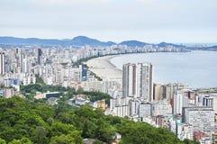 Santos city,  in Sao Paulo. Aerial view of coast city Santos, in Sao Paulo Stock Photos