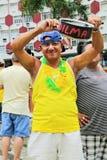 Santos, el Brasil - marzo, 15, 2015 - protestas en el Brasil Imágenes de archivo libres de regalías