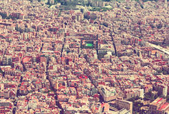 Sants-Montjuic residential district from helicopter. Barcelona. Aerial view of Sants-Montjuic residential district from helicopter. Barcelona, Catalonia Stock Images