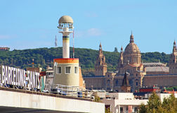Sants train station and lantern from Espanya Industrial park located near it in Barcelona, Spain Stock Image