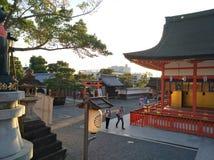 Santuário bonito com as árvores em japão foto de stock royalty free