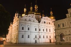 Santuário cultural histórico nacional Kyiv Pechersk Lavra na noite, Kyiv, Ucrânia fotos de stock royalty free