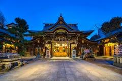 Santuário de Kushida em Hakata, Fukuoka, Japão na noite fotografia de stock royalty free