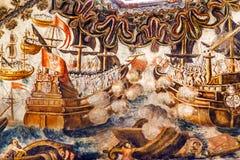 Santuário espanhol do fresco da batalha de mar de Jesus Atotonilco Mexico Imagem de Stock
