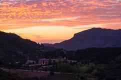 Santuari de Lluc no por do sol, Majorca, Balearic Island, Espanha Foto de Stock Royalty Free