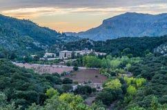 Santuari de Lluc at sunset, Majorca, Balearic Islands, Spain. Santuari de Lluc at sunset - monastery in Majorca, Balearic Islands, Spain Royalty Free Stock Photography