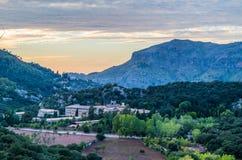 Santuari de Lluc at sunset, Majorca, Balearic Islands, Spain. Santuari de Lluc at sunset - monastery in Majorca, Balearic Islands, Spain Royalty Free Stock Image