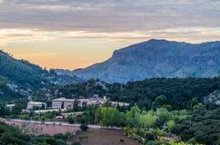 Santuari de Lluc at sunset, Majorca, Balearic Islands, Spain Stock Image