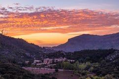 Santuari de Lluc at sunset, Majorca, Balearic Islands, Spain. Santuari de Lluc at sunset - monastery in Majorca, Balearic Islands, Spain Stock Images