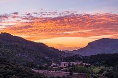 Santuari de Lluc at sunset, Majorca, Balearic Islands, Spain. Santuari de Lluc at sunset - monastery in Majorca, Balearic Islands, Spain Stock Photo