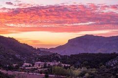 Santuari de Lluc at sunset, Majorca, Balearic Islands, Spain. Santuari de Lluc at sunset - monastery in Majorca, Balearic Islands, Spain Royalty Free Stock Photo
