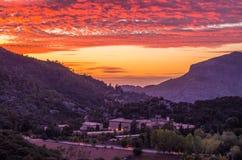 Santuari de Lluc at sunset, Majorca, Balearic Islands, Spain. Santuari de Lluc at sunset - monastery in Majorca, Balearic Islands, Spain Stock Photos