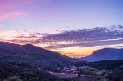 Santuari de Lluc at sunset, Majorca, Balearic Islands, Spain. Santuari de Lluc at sunset - monastery in Majorca, Balearic Islands, Spain Stock Photography