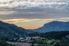 Santuari de Lluc at sunset, Majorca, Balearic Islands, Spain Stock Photos