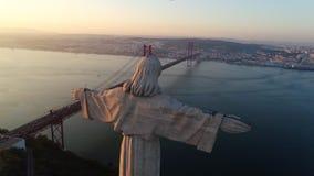 Santuario del monumento di vista di Aeria di Cristo il re a Lisbona archivi video