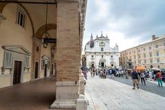Santuario della圣诞老人住处,朝圣教会在洛雷托省,意大利 免版税图库摄影