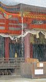 Santuario di Yasaka in pioggia persistente a Kyoto Fotografia Stock