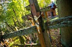 Santuario e cimitero sulla montagna di Garbarka, Polonia Immagine Stock