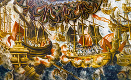 Santuario español del fresco de la batalla naval de Jesus Atotonilco Mexico Fotos de archivo libres de regalías