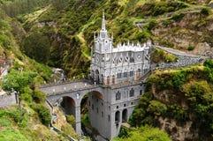 Santuario Las Lajas en Colombia imagenes de archivo
