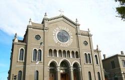Santuario Maria Auxiliadora Church - Punta Arenas - Chile. Façade. Cloudy blue sky stock photos