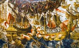 Santuario spagnolo dell'affresco di battaglia di mare di Jesus Atotonilco Mexico fotografie stock libere da diritti
