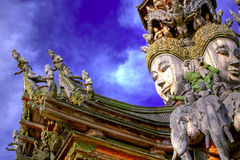 The Santuary of truth PATTAYA. In Thailand in the city of Pattaya the sanctuary of truth is a wooden construction high of 105 meter covered with wooden carved Stock Images