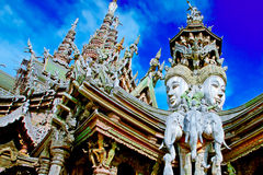 The Santuary of truth PATTAYA. In Thailand in the city of Pattaya the sanctuary of truth is a wooden construction high of 105 meter covered with wooden carved Stock Photo