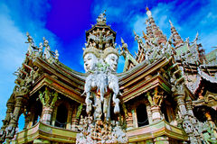 The Santuary of truth PATTAYA. In Thailand in the city of Pattaya the sanctuary of truth is a wooden construction high of 105 meter covered with wooden carved Stock Photos