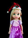 Santy玩偶,玩偶穿戴圣诞老人帽子 库存照片