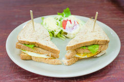 Sanwich with chiken, cheese and vegetables Stock Images
