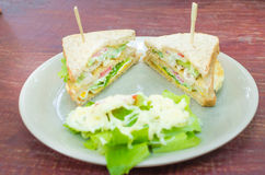 Sanwich with chiken, cheese and vegetables Stock Photography