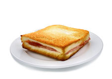 Sanwich ham cheese on white plate Royalty Free Stock Image
