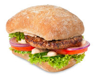 Sanwich with hamburger. And vegetables Stock Photography