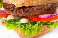 Sanwich with hamburger macro shot Royalty Free Stock Photo