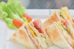 Sanwiches早餐用沙拉和蕃茄在白色板材 免版税库存照片