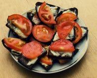 Sanwiches avec la tomate Images libres de droits