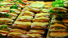 Sanwiches on sale in Italy, street food concept  Stock Photos