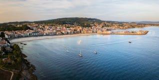 Sanxenxo i Silgar wyrzucać na brzeg w Pontevedra, Hiszpania Obrazy Royalty Free