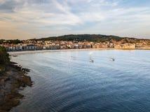 Sanxenxo i Silgar wyrzucać na brzeg w Pontevedra, Hiszpania Fotografia Royalty Free