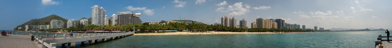 Panorama of Dadonghai bay on the tourist island of Hainan Royalty Free Stock Images