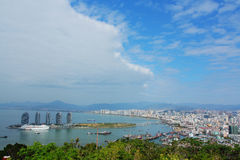 Sanya City Overlooking. We climbed the mountain which is is the southernmost mountain in Hainan island . On the top of the mountain, we saw the Sanya city and a Royalty Free Stock Photos