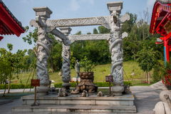Sanya Nanshan Buddhist Tantric kiosks owned by Ito-Yokado handwashing. Sanya City, Hainan Nanshan Temple, located 40 kilometers west of Sanya City, Hainan Stock Images