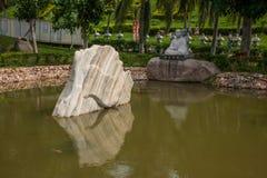 Sanya Nanshan Buddhist Tantric return Yokado flowerbed. Sanya City, Hainan Nanshan Temple, located 40 kilometers west of Sanya City, Hainan Nanshan Cultural Royalty Free Stock Photo