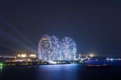 Sanya Phoenix wyspa w Sanya Podpalanych Super Gwiazdowych hotelach Obrazy Stock