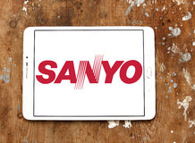 Sanyo logo. Logo of electronics manufacturer sanyo on samsung tablet on wooden background Stock Image