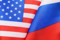 Sanzioni della bandiera degli S.U.A. e del Russo Fotografie Stock